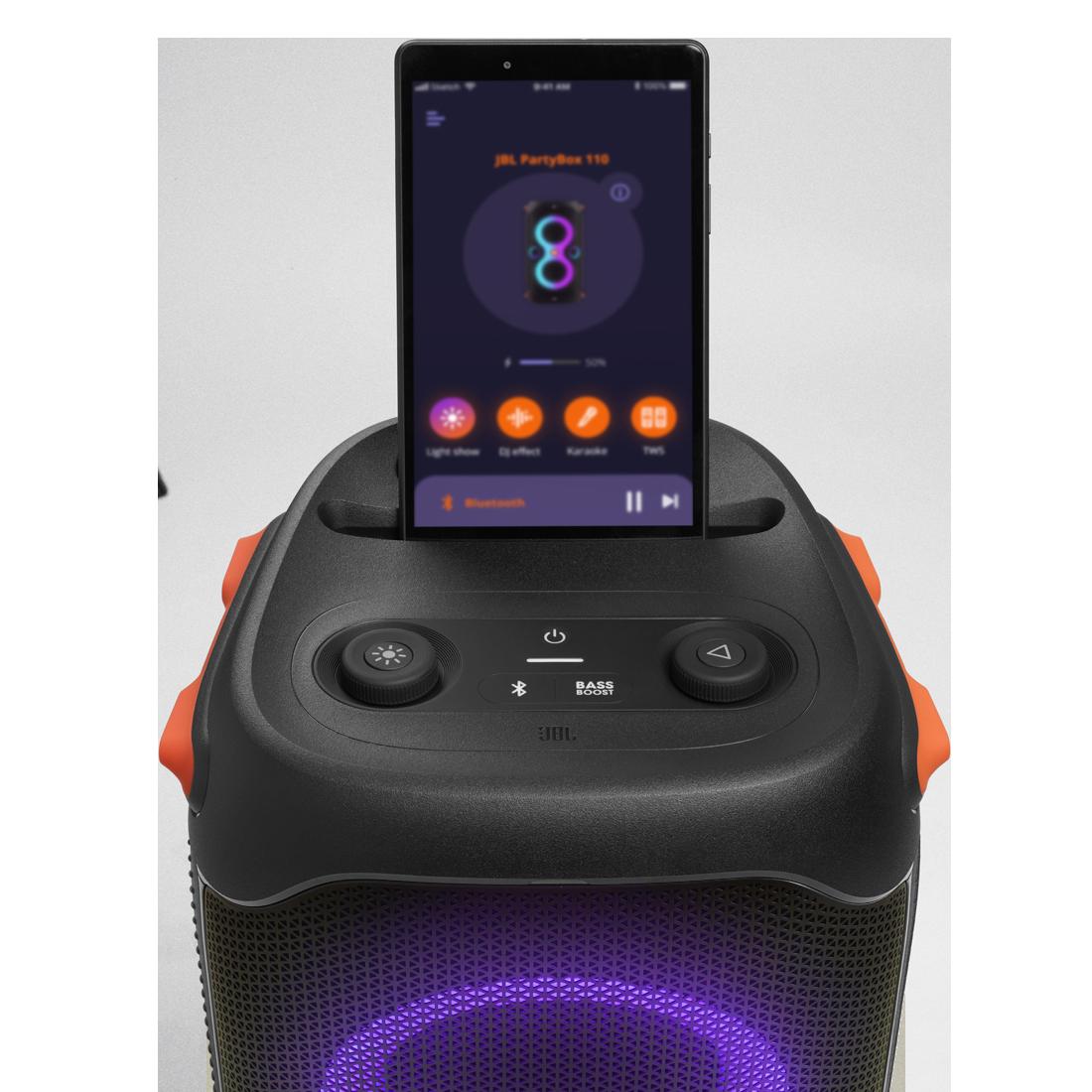 JBL Partybox 110 - Black - Portable party speaker with 160W powerful sound, built-in lights and splashproof design. - Detailshot 5