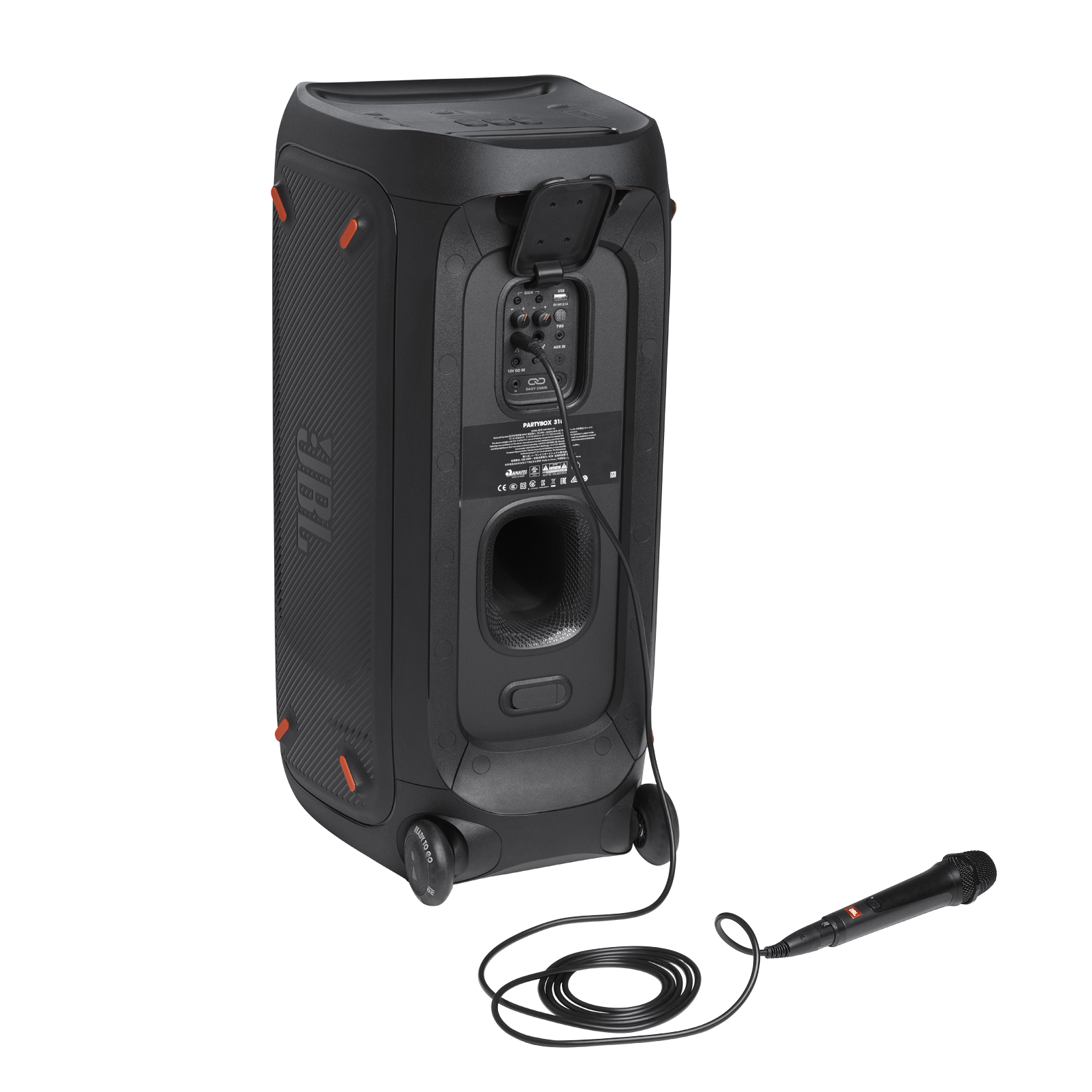 JBL Partybox 310 + Mic - Black - Portable party speaker with 240W powerful sound, built-in lightshow and wired mic - Detailshot 1