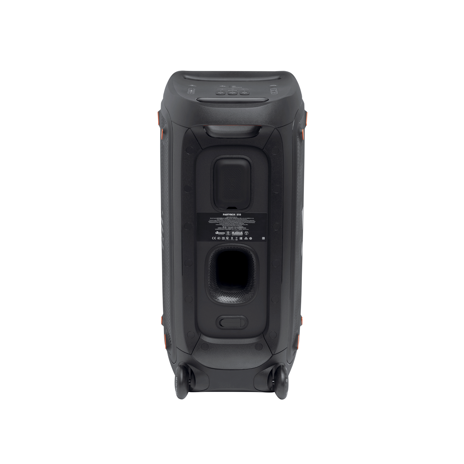 JBL Partybox 310 + Mic - Black - Portable party speaker with 240W powerful sound, built-in lightshow and wired mic - Back