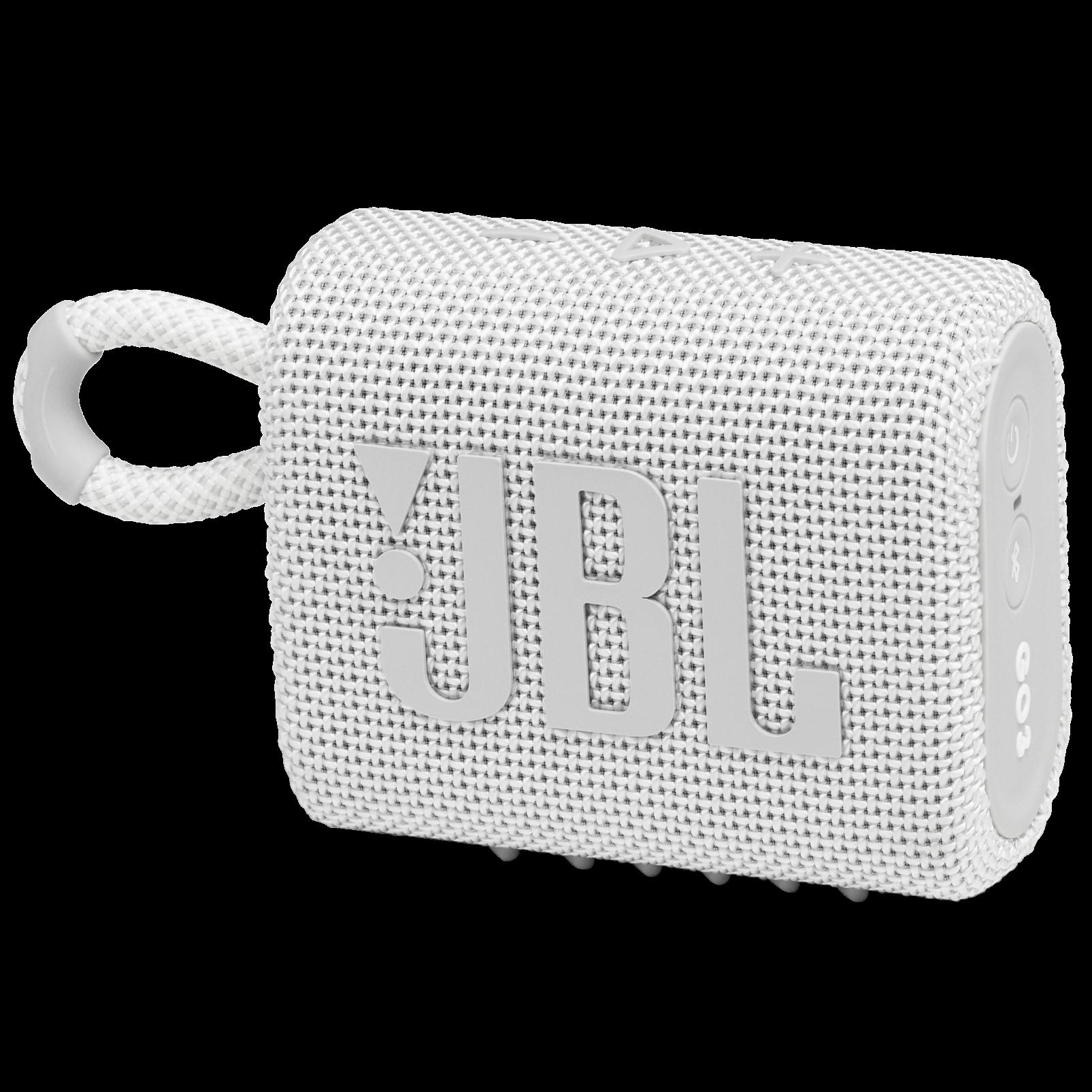 JBL GO 3 - White - Portable Waterproof Speaker - Hero